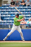 Lynchburg Hillcats designated hitter Anthony Miller (40) at bat during a game against the Salem Red Sox on May 10, 2018 at Haley Toyota Field in Salem, Virginia.  Lynchburg defeated Salem 11-5.  (Mike Janes/Four Seam Images)