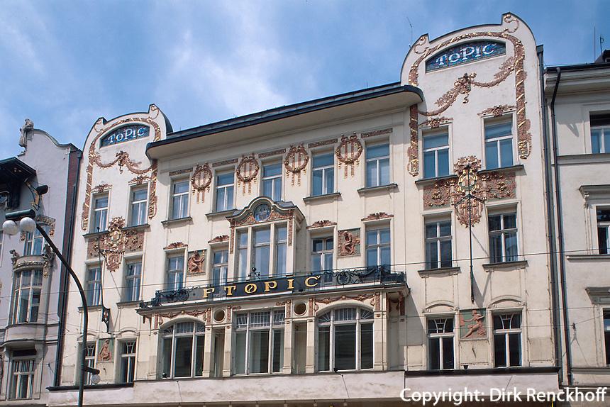 Jugendstilhaus Topic in der Narodni 9, Prag, Tschechien, Unesco-Weltkulturerbe