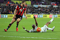 Andre Ayew of Swansea (R) is fouled by Simon Francis of Bournemouth which won Swansea a penalty kick during the Barclays Premier League match between Swansea City and Bournemouth at the Liberty Stadium, Swansea on November 21 2015
