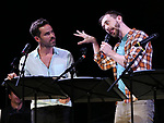 "Nicholas Belton and Alex Gibson during the New York Musical Festival production of  ""Alive! The Zombie Musical"" at the Alice Griffin Jewel Box Theatre on July 29, 2019 in New York City."