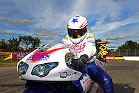Sept. 5, 2011; Claremont, IN, USA: NHRA pro stock motorcycle rider Hector Arana Jr. after winning the US Nationals at Lucas Oil Raceway. Mandatory Credit: Mark J. Rebilas-