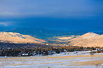 The Missoula, Montana valley as the sun sets on a winter day