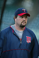Matt LeCroy of the Minnesota Twins during a 2003 season MLB game at Angel Stadium in Anaheim, California. (Larry Goren/Four Seam Images)