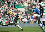 Celtic v St Johnstone...29.08.15  SPFL   Celtic Park<br /> David Wotherspoon's shot at goal is blocked<br /> Picture by Graeme Hart.<br /> Copyright Perthshire Picture Agency<br /> Tel: 01738 623350  Mobile: 07990 594431