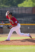 Hickory Crawdads pitcher Ariel Jurado (19) delivers a pitch to the plate against the Savannah Sand Gnats at L.P. Frans Stadium on June 14, 2015 in Hickory, North Carolina.  The Crawdads defeated the Sand Gnats 8-1.  (Brian Westerholt/Four Seam Images)