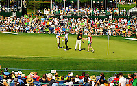PGA golfers Padraig Harrington (left) and Phil Mickelson (right) at the Wells Fargo Championship, a PGA championship event held annually in Charlotte NC. The event previously was called The Wachovia Golf Championship. The event is held at the Quail Hollow Club in Charlotte, North Carolina in early May. Since its inception in 2003, the PGA golf championship event has attracted some of the top players on the tour. In 2009, the tournament had a $6.5 million purse with a winner's prize of $1.17 million. The event is often ranked among the PGA Tour's toughest holes. The majority of the charitable proceeds from the tournament benefit Teach for America.