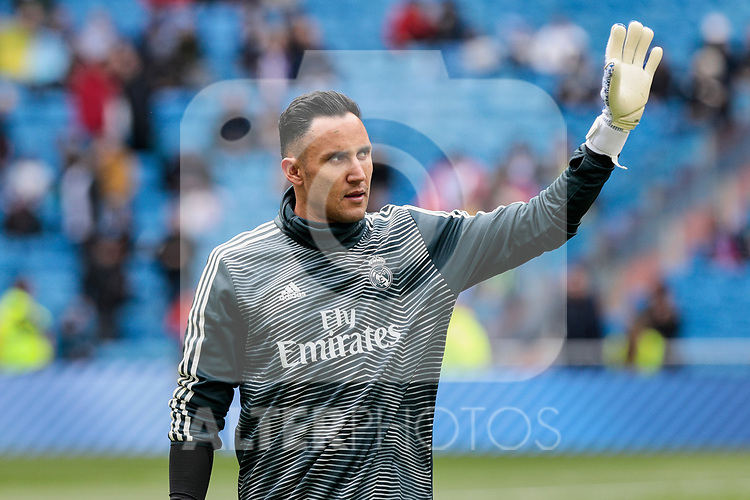 Real Madrid's Keylor Navas during La Liga match between Real Madrid and SD Eibar at Santiago Bernabeu Stadium in Madrid, Spain.April 06, 2019. (ALTERPHOTOS/A. Perez Meca)