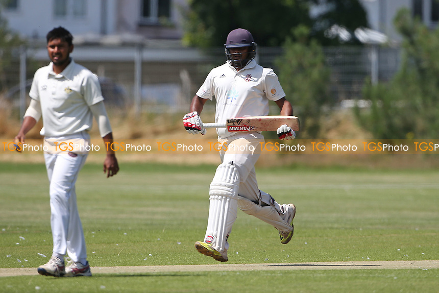 Ravi Teja Dwaraka Bhadmidipati in batting action for Oakfield during Oakfield Parkonians CC vs Gidea Park and Romford CC, Hamro Foundation Essex League Cricket at Oakfield Playing Fields on 17th July 2021