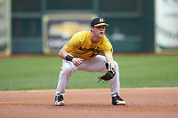 Missouri Tigers third baseman Cameron Swanger (13) on defense against the Oklahoma Sooners in game four of the 2020 Shriners Hospitals for Children College Classic at Minute Maid Park on February 29, 2020 in Houston, Texas. The Tigers defeated the Sooners 8-7. (Brian Westerholt/Four Seam Images)