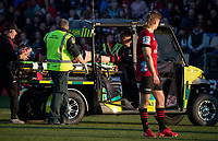 Injured prop Oli Jager is stretchered from the field during the 2020 Super Rugby match between the Crusaders and Highlanders at Orangetheory Stadium in Christchurch, New Zealand on Saturday, 9 August 2020. Photo: Joe Johnson / lintottphoto.co.nz