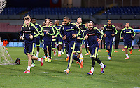 Wednesday 26 February 2014<br /> Pictured L-R: Players Ben Davies, Ashley Williams and Leon Britton training.<br /> Re: Swansea City FC press conference and training at San Paolo in Naples Italy for their UEFA Europa League game against Napoli.