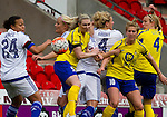 Doncaster Rovers Belles 1 Chelsea Ladies 4, 20/03/2016. Keepmoat Stadium, Womens FA Cup. Players compete in the box following a corner. Photo by Paul Thompson.