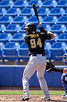 Pittsburgh Pirates Hunter Owen (94) bats during a Major League Spring Training game against the Toronto Blue Jays on March 1, 2021 at TD Ballpark in Dunedin, Florida.  (Mike Janes/Four Seam Images)