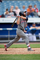 Lehigh Valley IronPigs left fielder Andrew Pullin (15) follows through on a swing during a game against the Syracuse Chiefs on May 20, 2018 at NBT Bank Stadium in Syracuse, New York.  Lehigh Valley defeated Syracuse 5-2.  (Mike Janes/Four Seam Images)