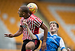 St Johnstone v Sunderland…15.07.17… McDiarmid Park… Pre-Season Friendly<br />James Vaughan and Scott Tanser<br />Picture by Graeme Hart.<br />Copyright Perthshire Picture Agency<br />Tel: 01738 623350  Mobile: 07990 594431