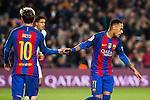 FC Barcelona's Neymar Santos Jr , Leo Messi during spanish La Liga match between Futbol Club Barcelona and Real Madrid  at Camp Nou Stadium in Barcelona , Spain. December 03, 2016. (ALTERPHOTOS/Rodrigo Jimenez)