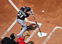 23 August 2009: Milwaukee Brewers' shortstop Alcides Escobar at bat against the Washington Nationals at Nationals Park in Washington, DC. The Nationals defeated the Brewers 8-3 to take the third game of their four-game series, snapping a five games losing streak. Mandatory Credit: Ed Wolfstein Photo