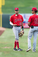AZL Angels center fielder Jordyn Adams (21) and shortstop Jeremiah Jackson (8) before an Arizona League game against the AZL Diamondbacks at Tempe Diablo Stadium on July 16, 2018 in Tempe, Arizona. The AZL Diamondbacks defeated the AZL Angels by a score of 4-3. (Zachary Lucy/Four Seam Images)