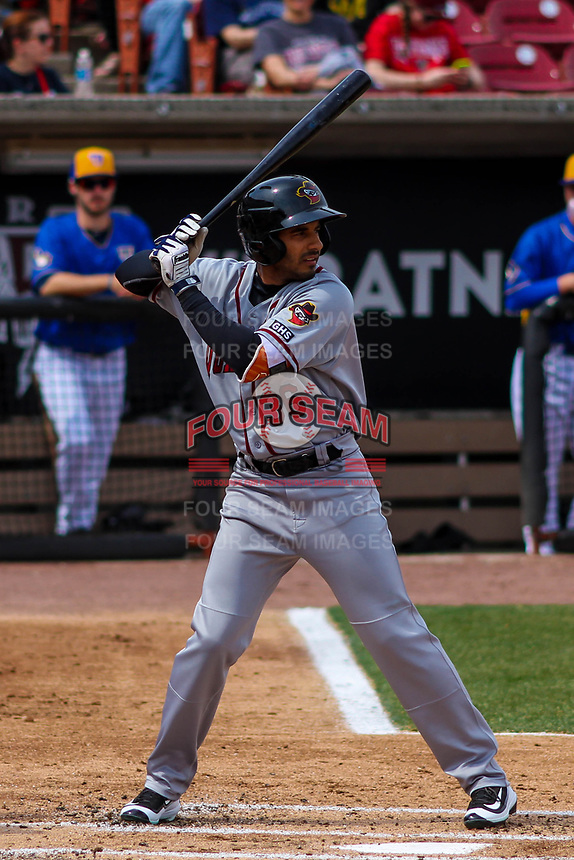 Quad Cities River Bandits infielder Anibal Sierra (36) at bat during a Midwest League game against the Wisconsin Timber Rattlers on April 9, 2017 at Fox Cities Stadium in Appleton, Wisconsin.  Quad Cities defeated Wisconsin 17-11. (Brad Krause/Four Seam Images)