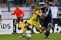 27 MAY 2009: #10 Alejandro Moreno, Columbus Crew forward and #21 Jason Hernandez of the San Jose Earthquakes in action during the San Jose Earthquakes at Columbus Crew MLS game in Columbus, Ohio on May 27, 2009.