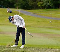 2nd July 2021; Mount Juliet Golf Club, Kilkenny, Ireland; Dubai Duty Free Irish Open Golf, Day Two; John Catlin of the USA takes his second shot on the 12th fairway