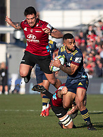 Jona Nareki looks for support during the 2020 Super Rugby match between the Crusaders and Highlanders at Orangetheory Stadium in Christchurch, New Zealand on Saturday, 9 August 2020. Photo: Joe Johnson / lintottphoto.co.nz