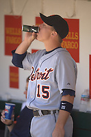 Brandon Inge drinks an energy drink. Baseball: Detroit Tigers vs Oakland Athletics at McAfee Coliseum in Oakland, CA on July 5, 2006. Photo by Brad Mangin