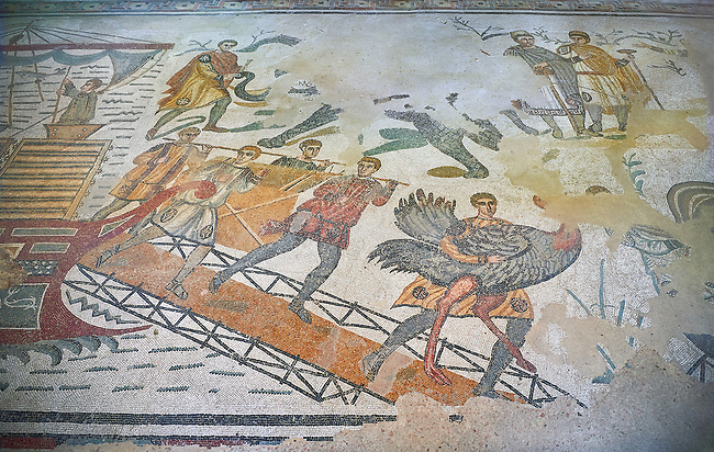 Ambulatory of the Great Hunt Roman mosaic, Ostrich is being taken off a ship, room no 28, at the Villa Romana del Casale, first quarter of the 4th century AD. Sicily, Italy. A UNESCO World Heritage Site.<br /> <br /> The Great Hunt ambulatory is around 60 meters long (200 Roman feet) and connects the master's northern apartments with the triclinium in the south. The door in the centre of the the Great Hunt ambulatory leads to audience hall. <br /> <br /> The Great Hunt Roman mosaic depicts African animals being hunted and put onto ships to be taken to the Colosseum.