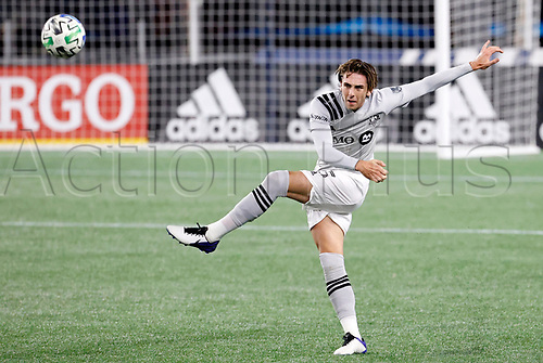 20th November 2020; Foxborough, MA, USA;  Montreal Impact defender Luis Binks plays the ball long up field during the MLS Cup Play-In game between the New England Revolution and the Montreal Impact