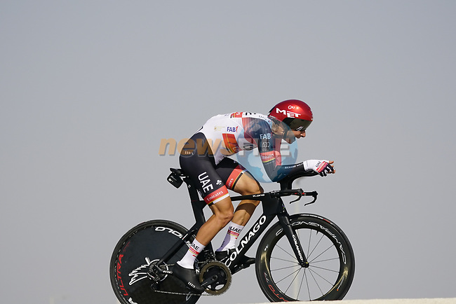 Davide Formolo (ITA) UAE Team Emirates during Stage 2 of the 2021 UAE Tour an individual time trial running 13km around  Al Hudayriyat Island, Abu Dhabi, UAE. 22nd February 2021.  <br /> Picture: Eoin Clarke | Cyclefile<br /> <br /> All photos usage must carry mandatory copyright credit (© Cyclefile | Eoin Clarke)