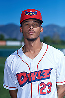 Orem Owlz shortstop Jeremiah Jackson (23) poses for a photo before a Pioneer League game against the Idaho Falls Chukars at The Home of the OWLZ on August 13, 2019 in Orem, Utah. Orem defeated Idaho Falls 3-1. (Zachary Lucy/Four Seam Images)