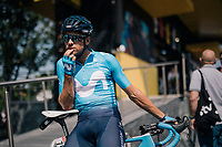 a pensive Mikel Landa (ESP/Movistar) before the start<br /> <br /> Stage 7: Fougères > Chartres (231km)<br /> <br /> 105th Tour de France 2018<br /> ©kramon