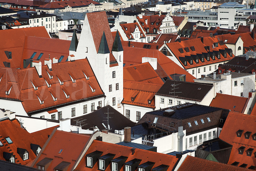 Red tiled rooftop of Old Town Munich, München, Bavaria, Germany, Deutschland, Europe