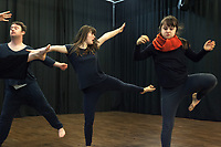 Switzerland. Canton Ticino. Locarno. Fauni Theater.  MOPS_DanceSyndrome is an independent Swiss artistic, cultural and social organisation operating in the field of contemporary dance and disability. It is composed only of Down dancers. Three dancers; Simone Lunardi (L), Gaia Mereu (C) and Elisabetta Montobbio (R) are rehearsing and improvising a dance. Rhythm, movements and motion. Down syndrome (DS or DNS), also known as trisomy 21, is a genetic disorder caused by the presence of all or part of a third copy of chromosome 21 It is usually associated with physical growth delays, mild to moderate intellectual disability, and characteristic facial features. 19.12.2019 © 2019 Didier Ruef