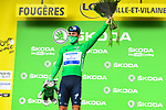 Mark Cavendish (GBR) Deceuninck-Quick Step also takes over the points Green Jersey at the end of Stage 4 of the 2021 Tour de France, running 150.4km from Redon to Fougeres, France. 29th June 2021.  <br /> Picture: A.S.O./Charly Lopez   Cyclefile<br /> <br /> All photos usage must carry mandatory copyright credit (© Cyclefile   A.S.O./Charly Lopez)