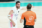 Real Madrid Baloncesto's Rudy Fernandez has words with Spanish referee Martin Caballero during Liga Endesa ACB 1st Final match. June 13,2021. (ALTERPHOTOS/Acero)