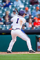 Cody Jones #1 of the Texas Christian Horned Frogs at bat against the Sam Houston State Bearkats at Minute Maid Park on February 28, 2014 in Houston, Texas.  The Bearkats defeated the Horned Frogs 9-4.  (Brian Westerholt/Four Seam Images)