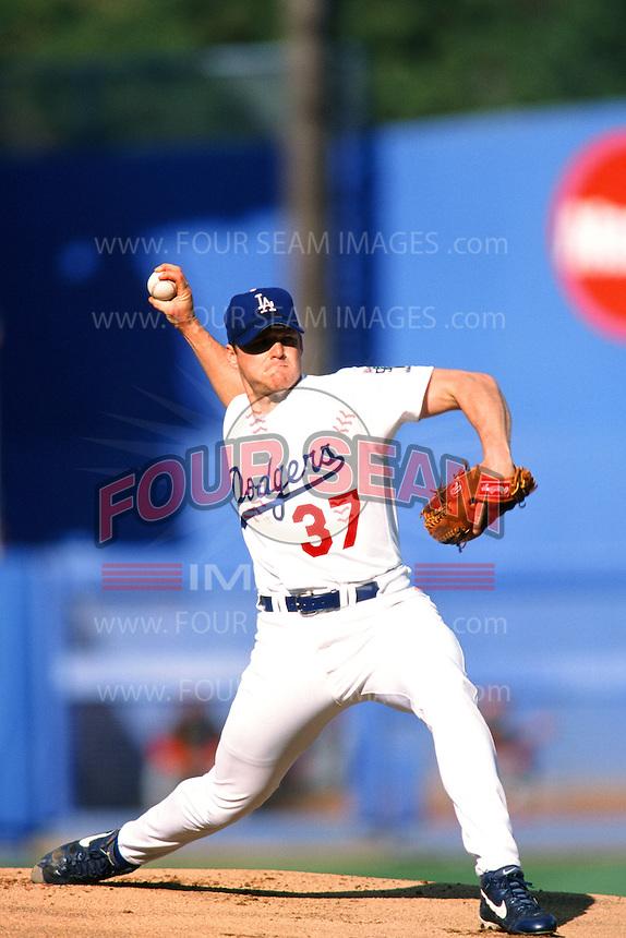 Darren Dreifort of the Los Angeles Dodgers during a game at Dodger Stadium circa 1999 in Los Angeles, California. (Larry Goren/Four Seam Images)