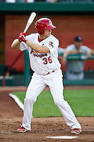 Kyle Conley (35) of the Springfield Cardinals at bat during a game against the Arkansas Travelers at Hammons Field on May 5, 2012 in Springfield, Missouri. (David Welker/Four Seam Images)