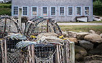 Lobster traps and ropes on a dock, Chatham, Cape Cod, Massachusetts, USA