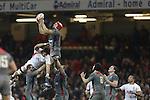 Luke Charteris takes the high ball.<br /> <br /> Dove Men Series 2013<br /> Wales v Tonga<br /> Millennium Stadium - Cardiff<br /> 22.11.13<br /> ©Steve Pope-SPORTINGWALES