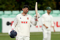 Sir Alastair Cook of Essex celebrates scoring a century of runs during Worcestershire CCC vs Essex CCC, LV Insurance County Championship Group 1 Cricket at New Road on 29th April 2021