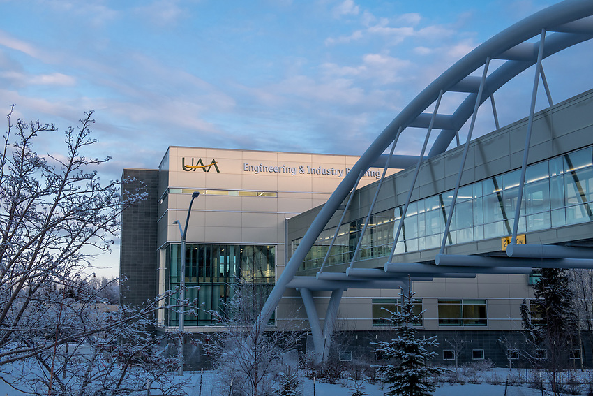 UAA's Engineering and Industry Building and Parrish Bridge.