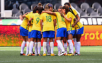 Seattle, WA - Thursday July 27, 2017: Brazil starting eleven huddle during a 2017 Tournament of Nations match between the women's national teams of the Japan (JAP) and Brazil (BRA) at CenturyLink Field.
