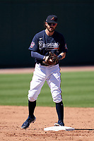 Atlanta Braves shortstop Dansby Swanson (7) steps on the bag for a force out during a Major League Spring Training game against the Boston Red Sox on March 7, 2021 at CoolToday Park in North Port, Florida.  (Mike Janes/Four Seam Images)