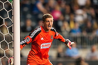 Philadelphia Union goalkeeper Zac MacMath (18). The Los Angeles Galaxy defeated the Philadelphia Union 4-1 during a Major League Soccer (MLS) match at PPL Park in Chester, PA, on May 15, 2013.