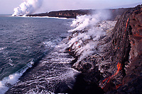 several spigots of lava entering the ocean with another entry in the distance, Lea'Puki, Hawaii, USA Volcanoes National Park, Big Island of Hawaii, USA, Pacific Ocean
