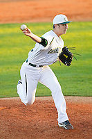 Charlotte 49ers relief pitcher Hunter May (22) delivers a pitch to the plate against the Delaware State Hornets at Robert and Mariam Hayes Stadium on February 15, 2013 in Charlotte, North Carolina.  The 49ers defeated the Hornets 13-7.  (Brian Westerholt/Four Seam Images)