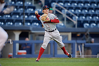 Boston Red Sox third baseman Brock Holt (60), on rehab assignment with the Pawtucket Red Sox, throws to first base during a game against the Scranton/Wilkes-Barre RailRiders on May 15, 2017 at PNC Field in Moosic, Pennsylvania.  Scranton defeated Pawtucket 8-4.  (Mike Janes/Four Seam Images)
