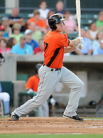 Infielder Michael Flacco (27) of the Frederick Keys in a game against the Myrtle Beach Pelicans on August 4, 2012, at TicketReturn.Com Field in Myrtle Beach, South Carolina. Myrtle Beach won, 4-3. (Tom Priddy/Four Seam Images)